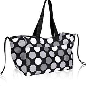 NEW thirty-one soft utility tote black & white dot